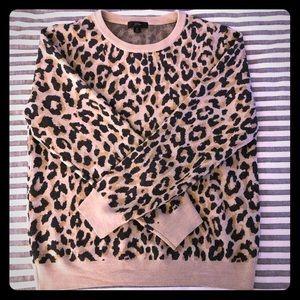 Cute leopard print J. Crew sweater! Medium 6/8